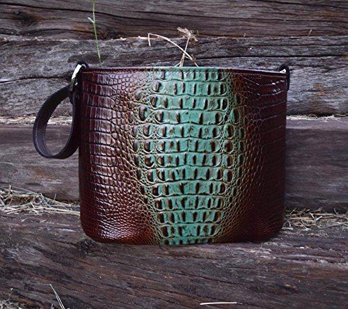 MoonStruck Leather Concealed Carry Purse - CCW Handbags -Aqua & Brown Crocodile - Made in the USA - Classic by MoonStruckLeather