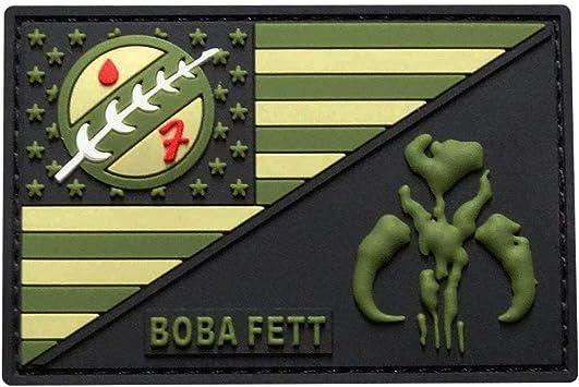 PVC Rubber-3.0 X 2.0-MTB4 USA Flag Mandalorian Bounty Hunter Boba Fett Patch