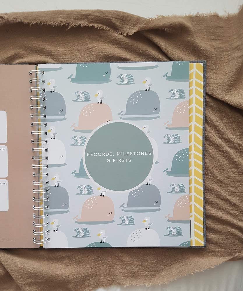 Minimalist Baby Memory Book Keepsake Milestone Journal 60 pages LGBTQ Friendly 9.75 x 11.25 In Perfect Baby Shower Gift