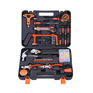COLMAX 82PCS Home Improvement Tool Kit, Household repairing Mixed Tool Set, with Plastic Blow Molded Tool Box Storage Case,Daily Use