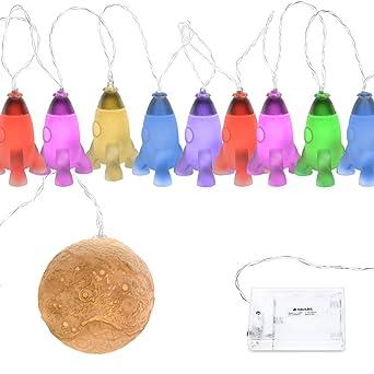 Navaris Guirlande Lumineuse LED - Guirlande Enfants 2m - Décoration Chambre  Enfant Bébé - Avec Fonction Changement de Couleur - 9x Fusée 1x Lune
