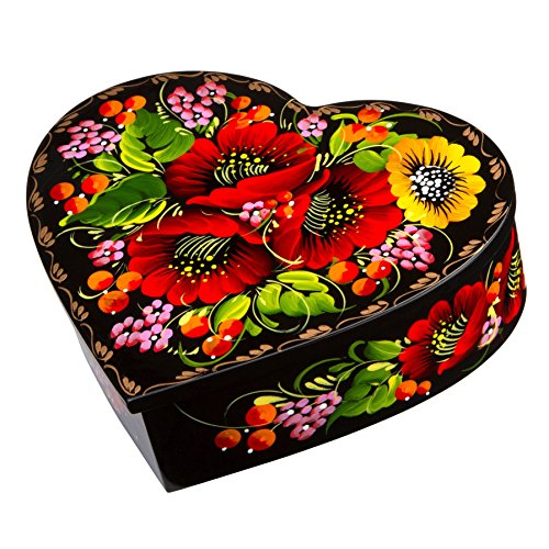 Unique Red Lacquer Jewellery Box - Ethnic Floral Heart-Shaped Wooden Jewelry Lacquer Box Hand-Painted in Ukraine Case for Earrings, Necklace, Rings (Red)