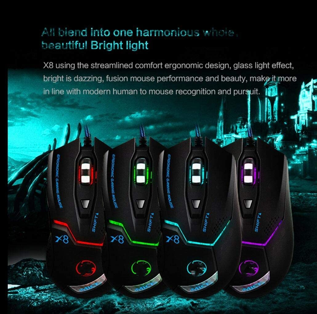 Color : Black YSSWJ Ysswjzz Gaming Mouse,Wired Programmable 6 Buttons Led Backlit /& 3200 DPI,Comfortable Grip,USB PC Gaming Mice for Laptop Computer MAC Gamers