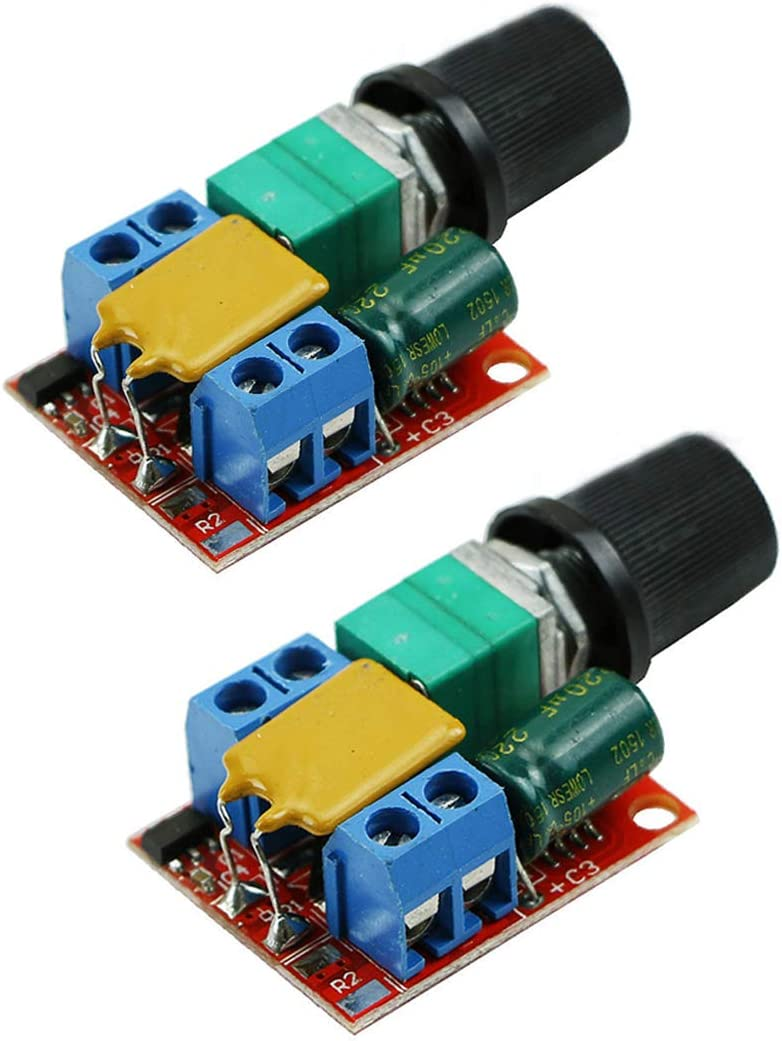 HiLetgo 2pcs DC Motor PWM Speed Controller 3V 6V 12V 24V 35V Speed Control Switch Mini LED Dimmer DC 3V-35V 5A 90W