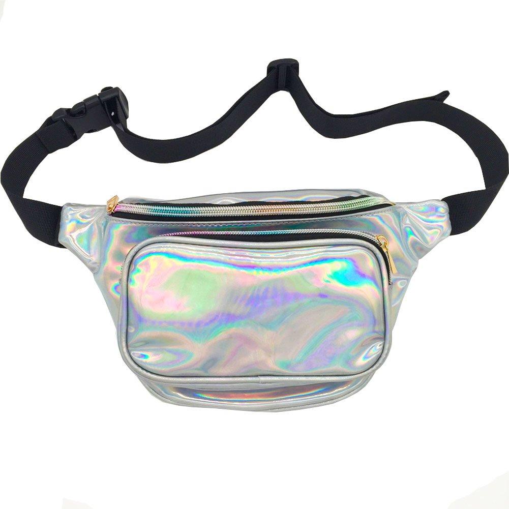 MSFS Women Hologram Bum Waist Bag Laser Funny Pack Waterproof Shiny Neon Pack for Travel Festival Beach (Silver)