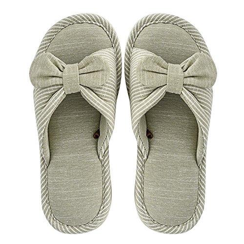 Nuevo Bow algodón Lady Primavera Zapatillas Zapatillas y de otoño Green Home Transpirable La YMFIE Antideslizantes el Toe Y0HvXv5