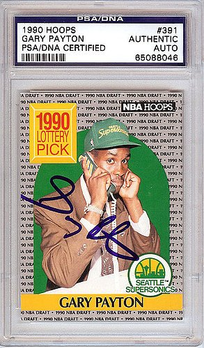 Gary Payton Signed 1990 Hoops Rookie Card #391 Seattle Sonics - PSA/DNA Authentication - NBA Basketball Trading Cards