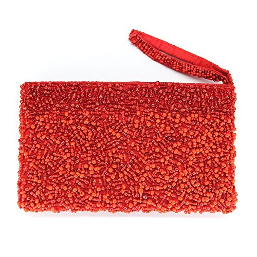 Zippered glass bead wristlet purse clutch Fair Trade - handmade - red crimson by I Thought of You