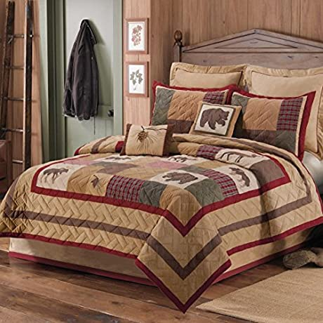 1 Piece Beautiful Brown Red Green Tan King Quilt Rustic Lodge Wildlife Plaid Patchwork Themed Bedding Animal Moose Deer Bear Cabin Cottage Nature Forest Country Western Pine Cone Casual Cotton
