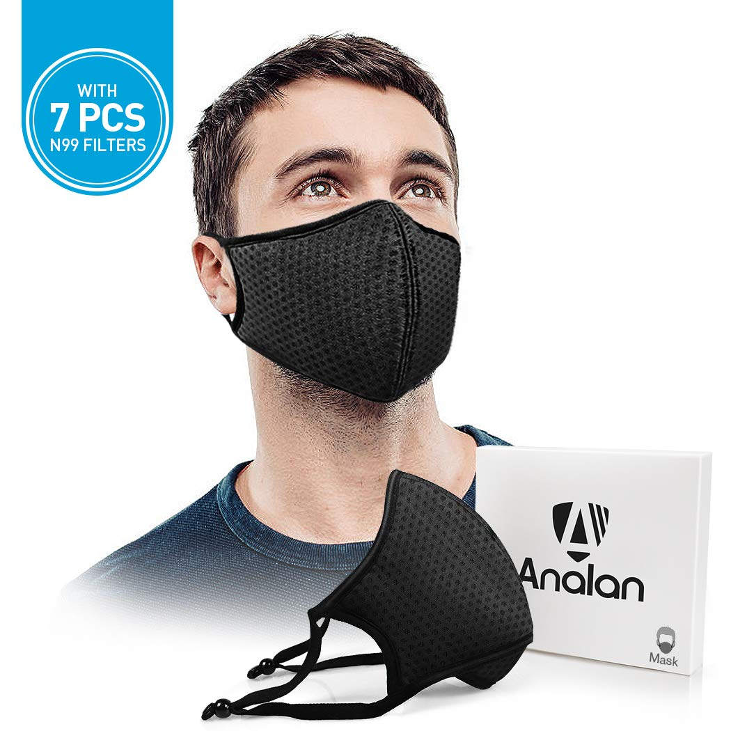ANALAN Dust Mask Anti Air Pollution Mask N99 Washable Reusable Mouth Masks for Allergies Smoke Protection Fire Face Flu Pollen with 7Pcs N99 Mask Filter(Black Knight) by ANALAN