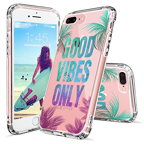 Cheap Cases iPhone 7 Plus Case, Clear iPhone 8 Plus Case, MOSNOVO Good Vibes..