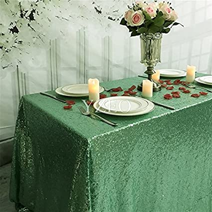 Yzeo 60x126 Mint Green Wedding Party Home Sequin Tablecloth