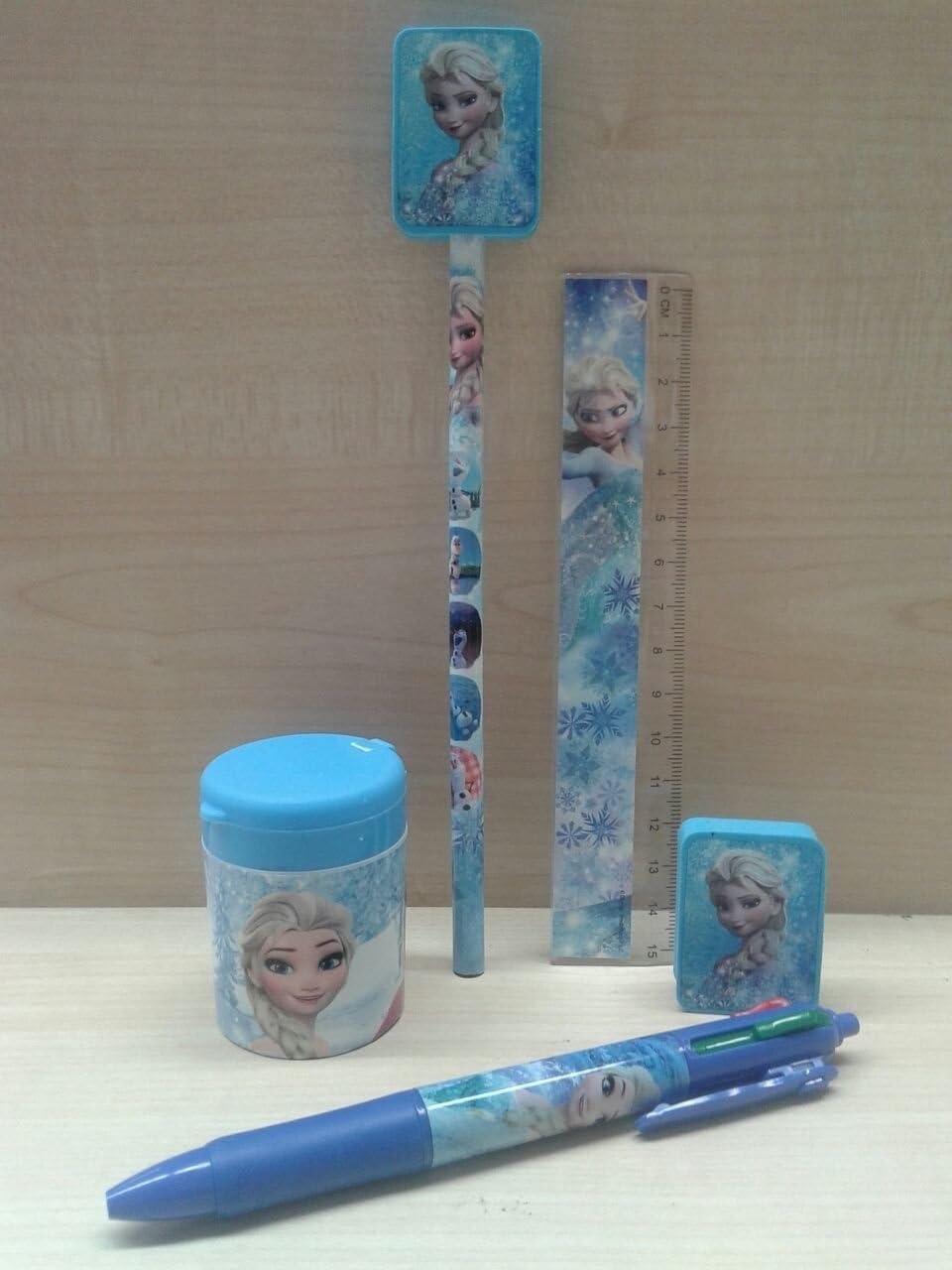 Juego escuela Frozen lápiz + Sacapuntas caja + lápices + regla + goma borrar: Amazon.es: Oficina y papelería
