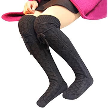 d3be3dc7928 Gillberry Womens Cable Knit Over Knee Long Boot Winter Warm Thigh-High Soft  Socks Leggings