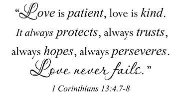 Attirant Wall Decal Sticker Quote Vinyl Large Love Is Patient Kind Corinthians Bible