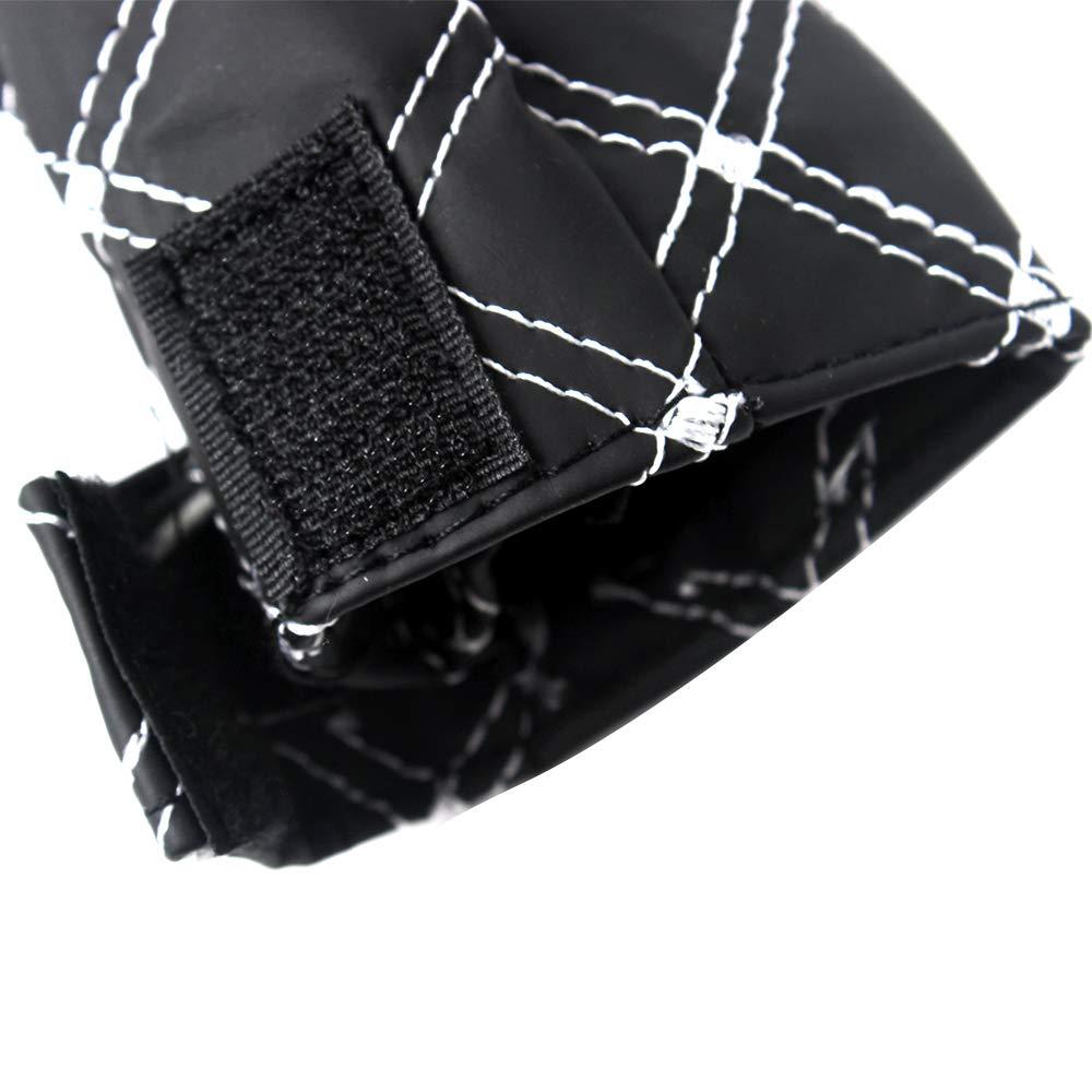 Rojo y Blanco Color Negro Cubierta para Palanca de Cambios y Freno de Mano de Piel sint/ética de Poliuretano