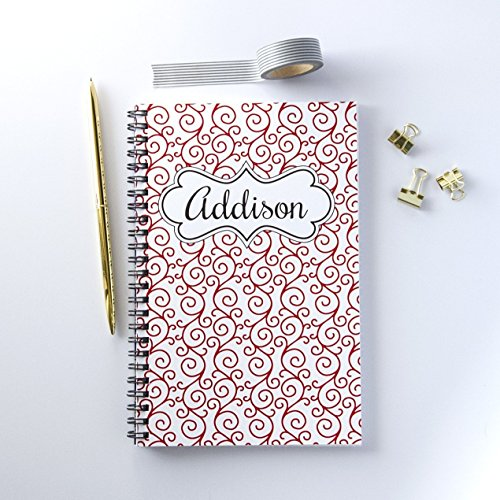 Personalized Notebook, Name and Flourish Design Spiral Notebook, Writing Journal - Flourish Journals