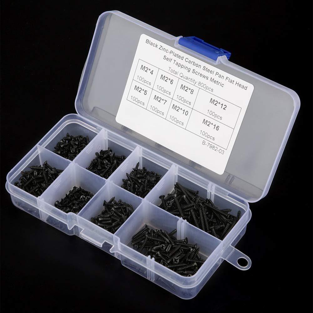 800 pezzi M2 Viti Autofilettanti Piana a Testa Svasata Acciaio al Carbonio Viti per Macchine Utensili di Riparazione di Fissaggio Kit di Assortimento