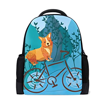 bb25cee97a Amazon.com  Cute Corgi On A Bike Student Backpack