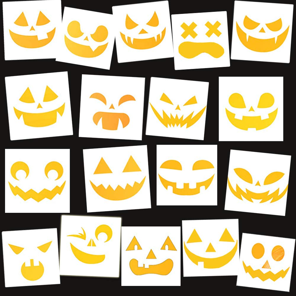 BAISDY 18Pcs Reusable Halloween Faces Stencil for DIY Painting Crafting Pumpkin Carving by BAISDY