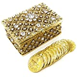 CB Accessories Wedding Unity Coins - Arras de Boda - Chest Box and Decorative Rhinestone Crystals Keepsake (Gold)
