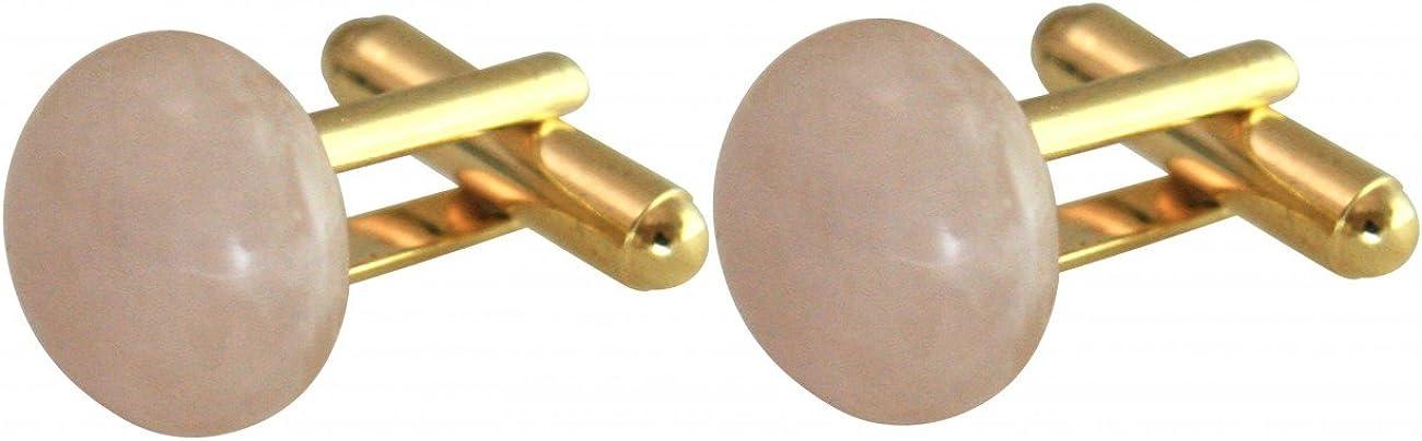 Manschettenkn/öpfe Rosenquarz Vergoldet Gemshine Rose 12 mm