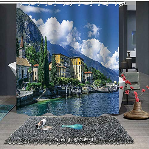 SCOXIXI Shower Curtain with Hooks,The Panoramic Landscape of Lake Como Mountains and Clouds Digital Image,for Bathroom(70.86