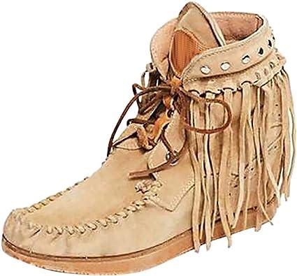 Botas Mujer Invierno Tallas Grandes Color Solido Retro Botines Cordones Mujer Botines Mujer Planos Vintage Botines Etnicos Burdeos Botas Con Flecos Botas Romanas Amazon Es Zapatos Y Complementos