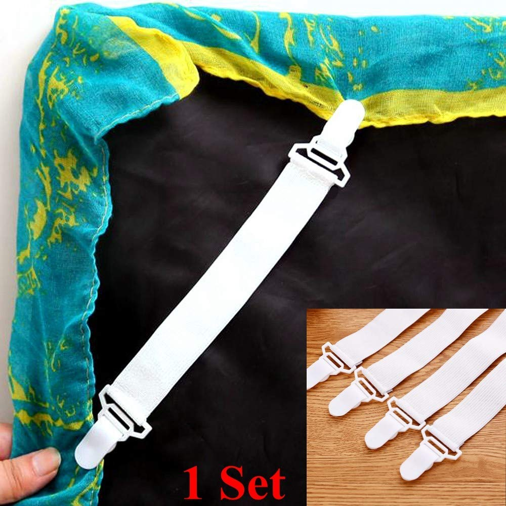 4 Packs Elastic Bed Sheet Straps Suspenders Adjustable Bed Corner Holder Fasteners Mattress Strong Clip Grippers Straps Elastic Holder to Keep Your Sheet in Place and Neat (White)