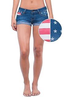 d2698ec41fb2 Tipsy Elves Women s Patriotic Red White and Blue Summer Beach Denim Jean  Shorts
