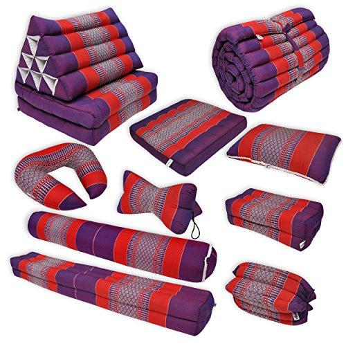 Thai mattress S (55 cm larg), relaxation, beach cushion, pool, meditation, yoga Violet/Red (81513) by Wilai GmbH (Image #2)
