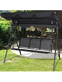 Ku0026A Company Swing Patio 3 Person Outdoor Canopy Chair Hammock Seat  Furniture Awning Porch Bench Hanging