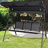 K&A Company Swing Patio 3 Person Outdoor Canopy Chair Hammock Seat Furniture Awning Porch Bench Hanging Gazebo Black