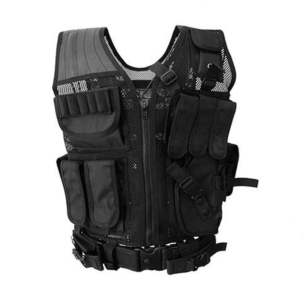 LXY&AI Cs Tactical Vest - Ultra Leichte Breathable Combat Trainingsweste - Military Combat Multifunktionsweste - Einstellbare Größe Tactical Belt Field Vest - Schwarz
