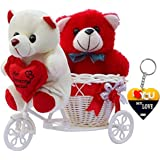 ME&YOU Romantic Cycle Teddyand Printed MDF Heart Keychain Return Gifts for Wife Girlfriend Sister On Birthday, Anniversary, Rakhi, Valentine's Day IZ18TWRCy-003