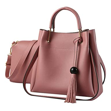 9823a902b651 Amazon.com: Fanspack Women's Handbags PU Leather Top Handle Satchel ...
