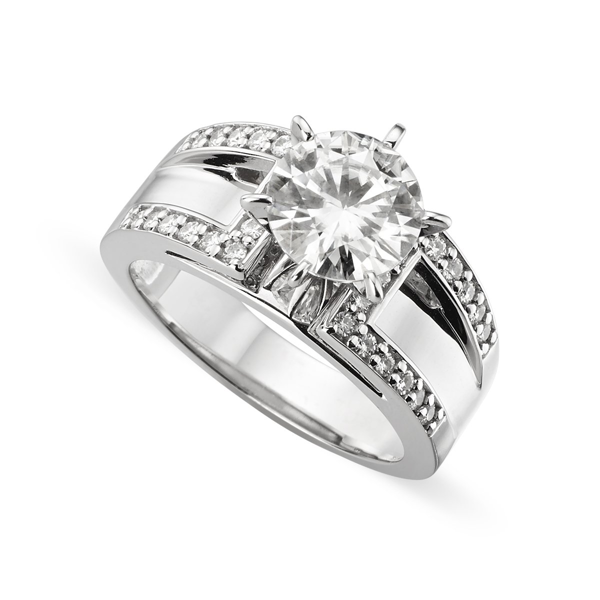 14K White Gold Round Brilliant Cut 8.0mm Moissanite Ring - size 8, 2.20cttw DEW By Charles & Colvard by Charles & Colvard
