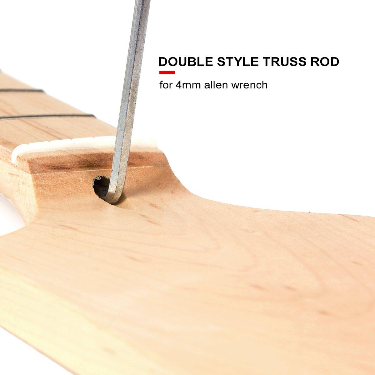 Kmise DIY Parts Clear Satin Maple 22 Fret Bolt on Paddle Headstock Electric Guitar Neck (4334250134) by Kmise (Image #3)