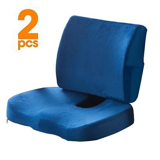 cojín de asiento Coccyx ortopédico de espuma de memoria y almohada de apoyo lumbar, juego de 2, cojín de asiento Coccyx para soporte de espalda baja, ...