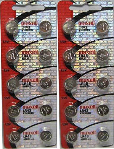 10pcs Maxell LR43 1.5v Alkaline Button Batteries also known as AG12 301 386 L1142 LR1142 186 D301 D386