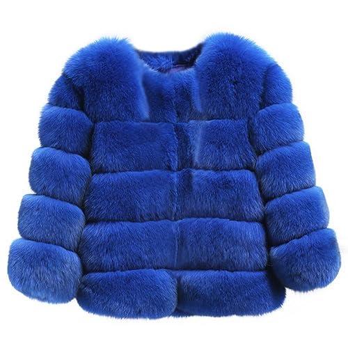 PanDaDa Piel de Fox Faux Fox de las mujeres Talla extra Grueso Chaqueta corta Abrigo de abrigo caliente