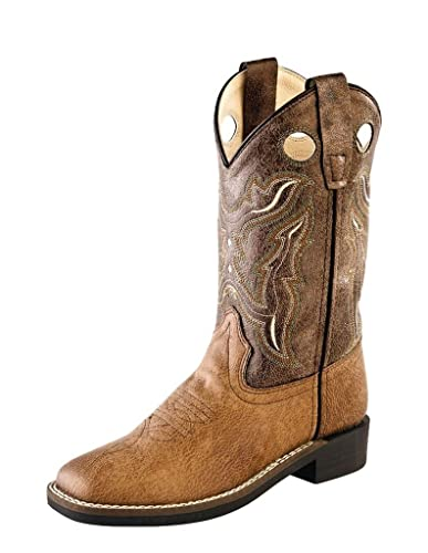 6e910098ff3 Old West Children Broad Square Toe Tan Vintage/Brown Crackle Cowboy Boot