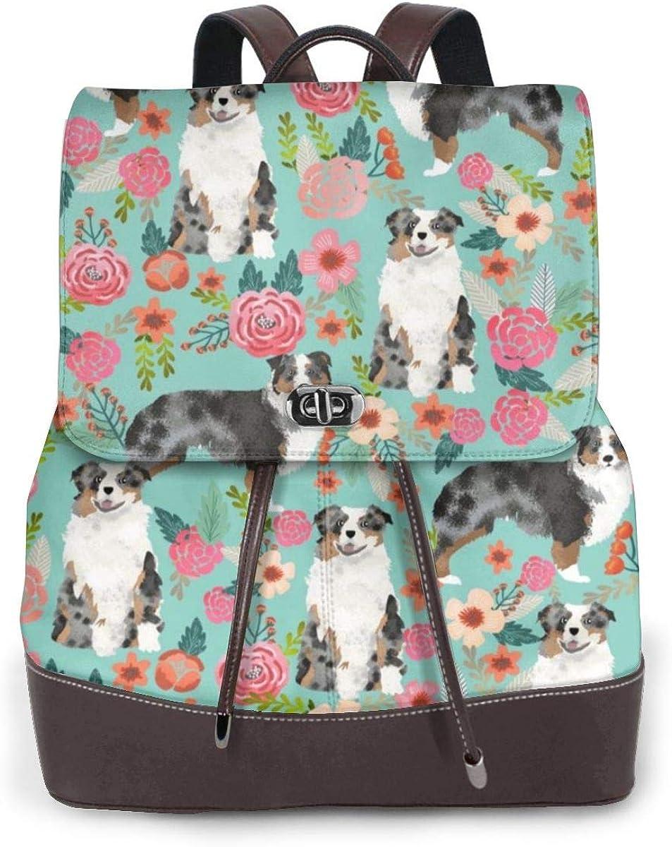 Not Applicable Mini borsa a tracolla da donna in vera pelle, con rose rosse e peonie floreali Aussie Herding Pet Dog Floral