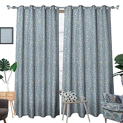 Warm Family Ivory and Blue Waterproof Window Curtain Star Pa