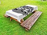 Ambesonne Retro Outdoor Tablecloth, Nostalgic Illustration of Retro Diner Restaurant with Vintage Cars Back in Fifties, Decorative Washable Picnic Table Cloth, 58 X 84 inches, Black White