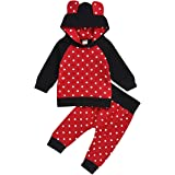 Infant Toddler Baby Boys Clothes Cartoon Cat Cotton Sets Pocket Hoodie+Pants Winter Fall Outfit 2Pcs (red, 18-24 Months…