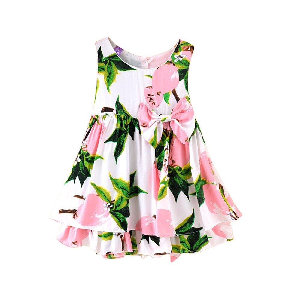 NIMIKID Baby Girls Dress Sundress Sleeveless Playwear Dress Bowknot Lemon Print Tutu Skirt Size 3T-4T/110cm