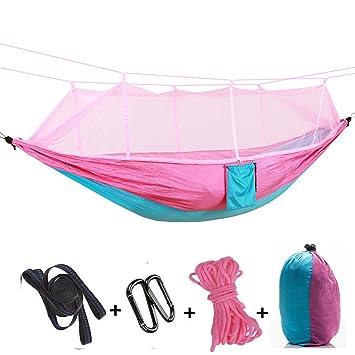 ZELO-VET Hamaca portátil para mosquitero, Jardín al aire libre, Camping, Transporte ultraligero, Capacidad de carga de 300 kg, Nylon paracaídas transpirable ...