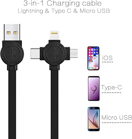 Three-in-One Anime Retractable Charging Cable,5 Adjustable Lengths Mini Data Cable Support Fast Charging and Data Sync Connector with Storage Bag