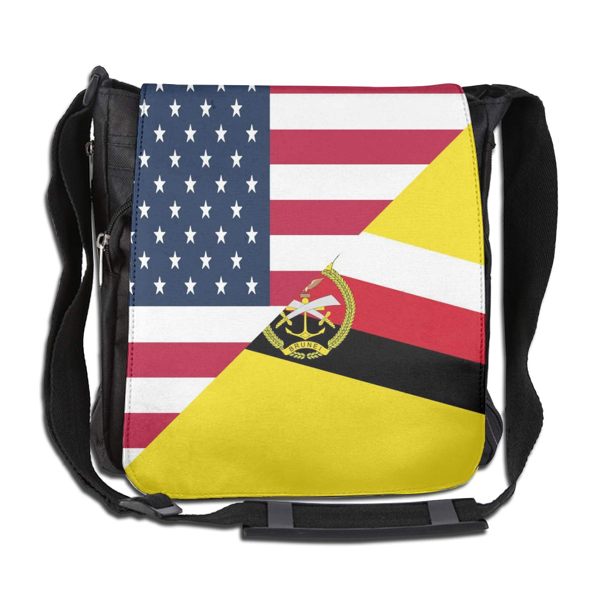 American And Brunei Flag Crossbody Shoulder Bag Fashion Casual Daily Messenger Bag Satchel School Bag For Women And Men